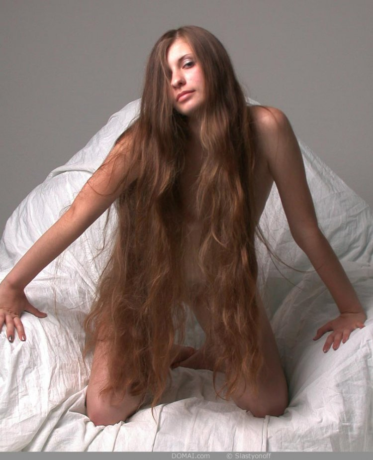 Erotic long haired beauty