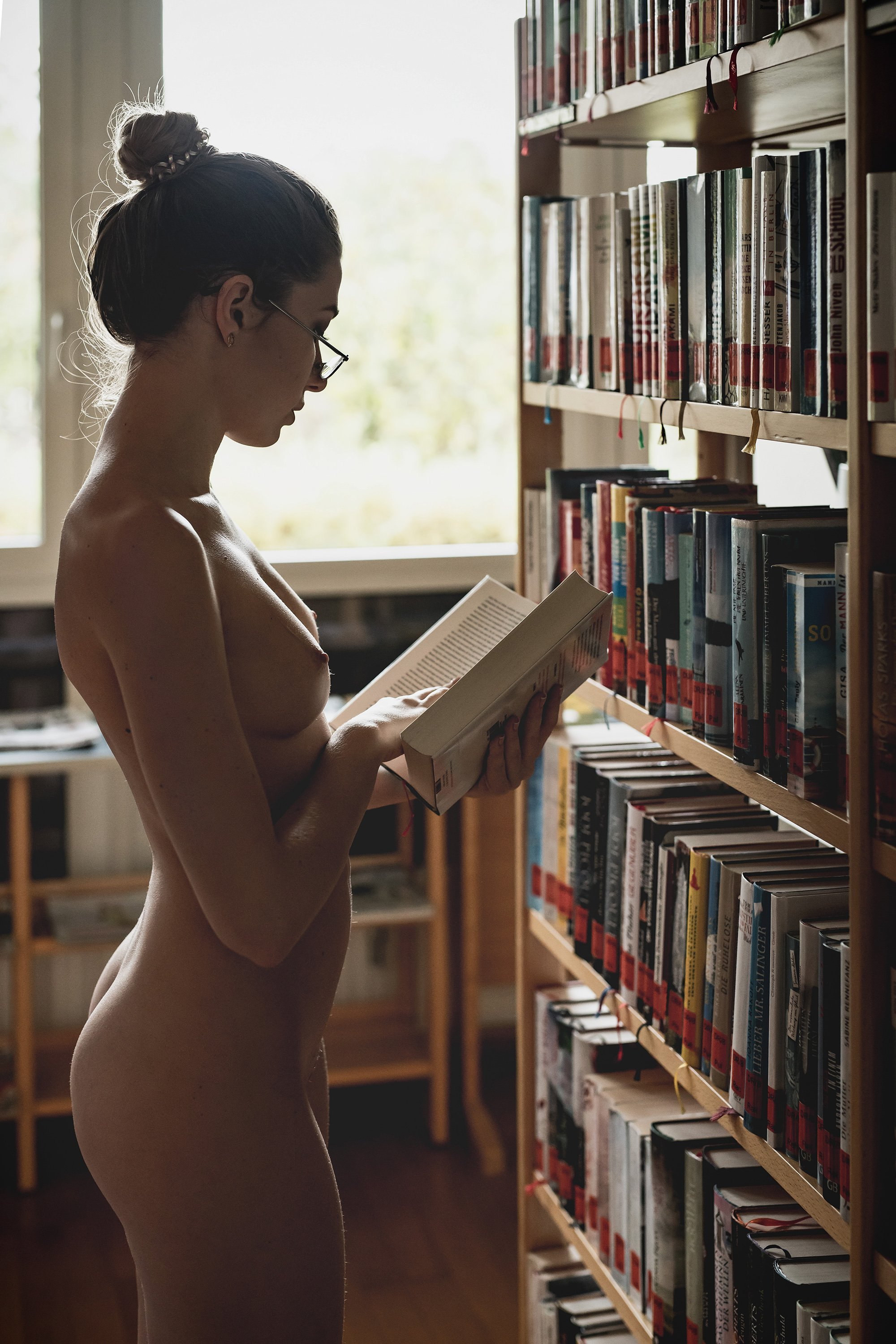 Sexy librarian wearing glasses
